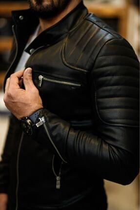 NorthStyle Erkek Deri Mont Ceket Omuz Çizgili Model 2020 New Season 2