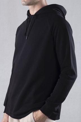 tinbasic Kapşonlu %100 Pamuk Örme Erkek Sweatshirt Hoodie - Siyah 2