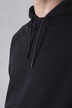 tinbasic Kapşonlu %100 Pamuk Örme Erkek Sweatshirt Hoodie - Siyah 4
