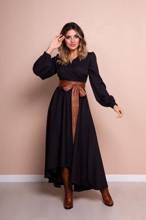 Bidoluelbise Kadın Siyah Taba Deri Kemerli Uzun Kol Asimetrik Kesim Elbise 1