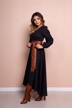 Bidoluelbise Kadın Siyah Taba Deri Kemerli Uzun Kol Asimetrik Kesim Elbise 4