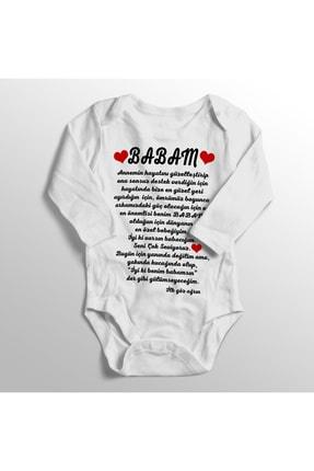 BirDünyaHediye Unisex Bebek Babam Iyi Ki Benim Babamsın Ilk Göz Ağrın Baskılı Bebek Zıbını 0