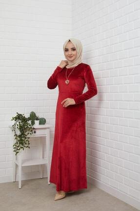 MODA STORE Kadın Bordo Kolyeli Kadife Tesettür Elbise 5473 2