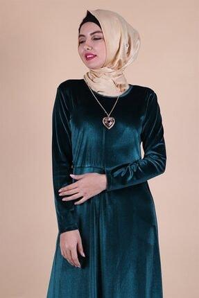 MODA STORE Kadın Mavi Kadife Kolyeli Tesettür Elbise 5473 1