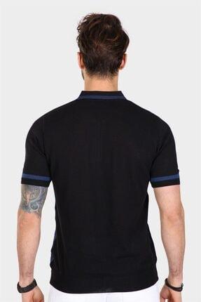 Ferraro Erkek Siyah  Desenli Yakası Çizgili Polo Yaka Triko T-shirt 4