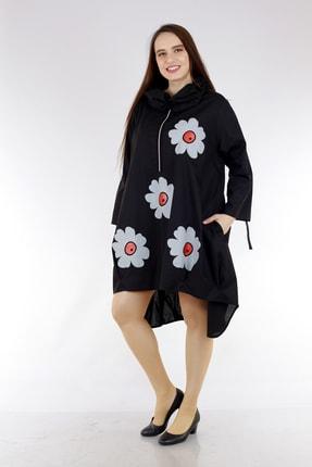Picture of Kadın Büyük Beden Fermuar Detay Cepli Truvakar Kol Çiçek Baskılı Elbise Siyah