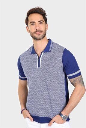 Ferraro Erkek Mavi Desenli Yakası Çizgili Polo Yaka Triko T shirt 3