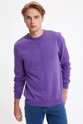 Defacto Erkek Mor Bisiklet Yaka Regular Fit Basic Sweatshirt 4