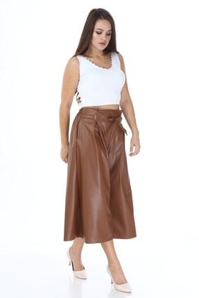 Beril Etek Kadın Camel Bol Paça Pileli Deri Pantolon 1