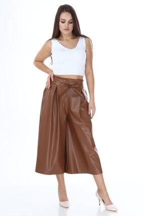 Beril Etek Kadın Camel Bol Paça Pileli Deri Pantolon 2