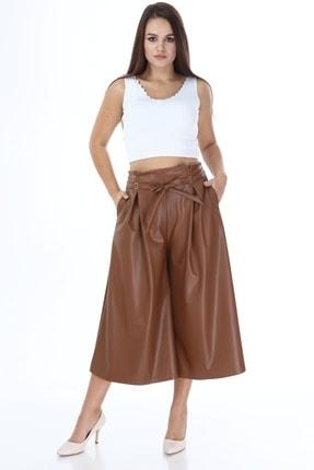 Beril Etek Kadın Camel Bol Paça Pileli Deri Pantolon 3