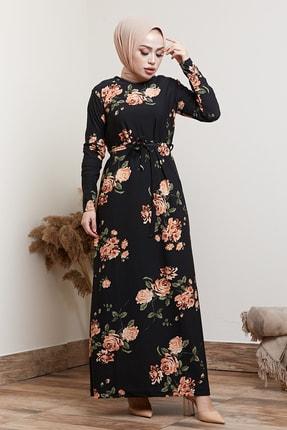 MODAEFA Kadın Siyah Çiçek Desenli Tesettür Elbise 1