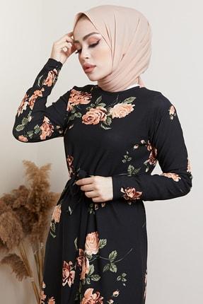 MODAEFA Kadın Siyah Çiçek Desenli Tesettür Elbise 2