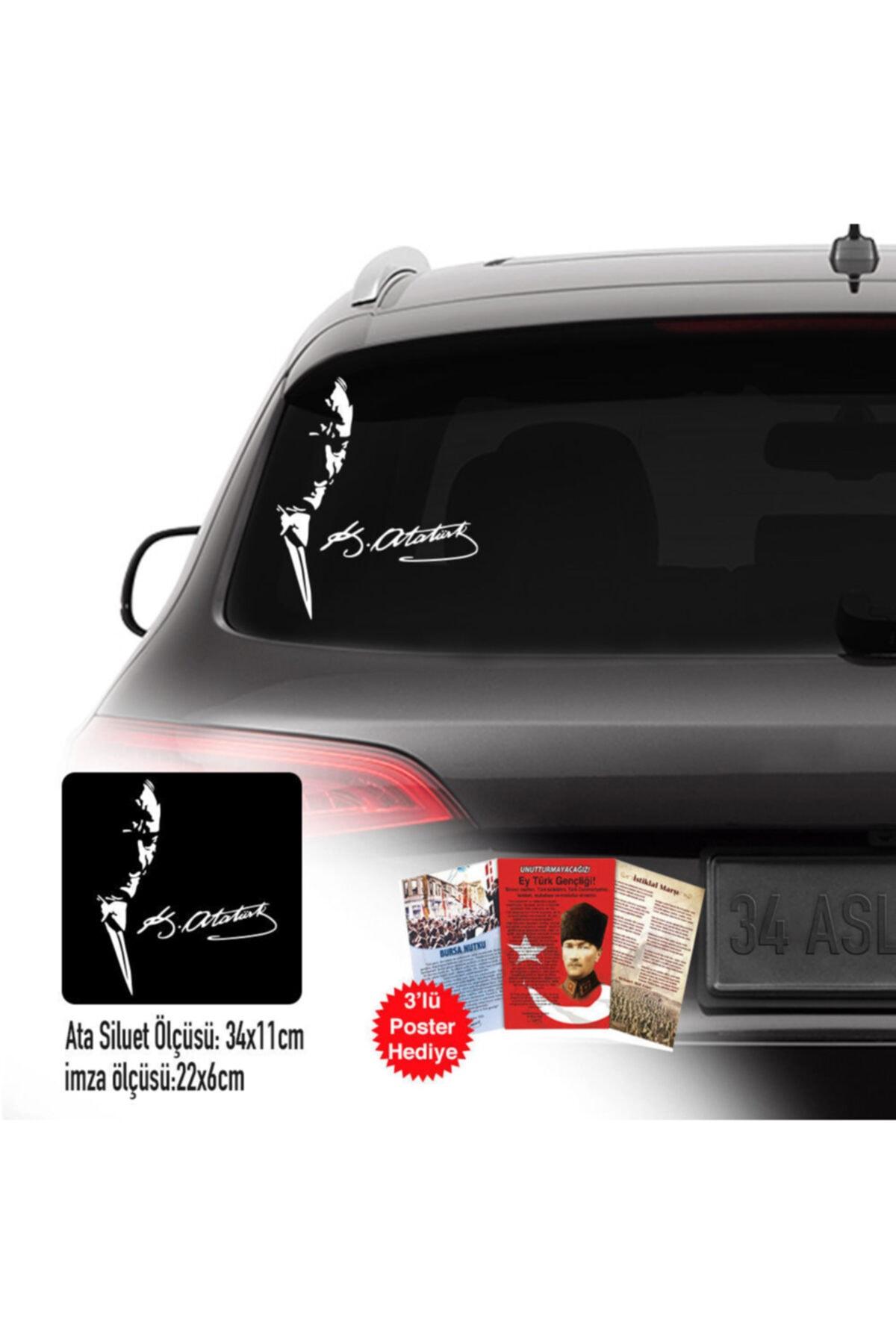 Mustafa Kemal Atatürk Yan Duruş Karizma Portre Sticker, Araba, Oto Etiket, Çıkartma