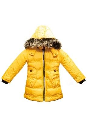 Tvians Kız Çocuk Mont Sarı Suni Kürklü Kapüşonlu Fermuarlı Şişme Su Geçirmez Bilen Mont 1