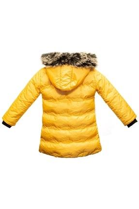 Tvians Kız Çocuk Mont Sarı Suni Kürklü Kapüşonlu Fermuarlı Şişme Su Geçirmez Bilen Mont 2