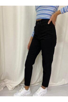 ETC Butik Tam Siyah Yüksek Bel Mom Boyfriend Likrasız Kot Pantolon 1