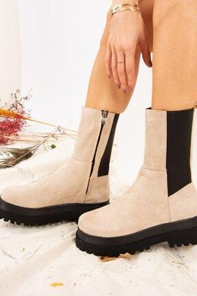 Fox Shoes Kadın Bej Süet Bot J267063102 1