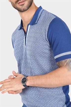 Ferraro Erkek Saks Desenli Yakası Çizgili Polo Yaka Triko T-shirt 2