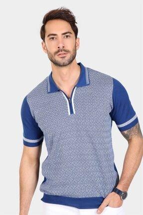 Ferraro Erkek Saks Desenli Yakası Çizgili Polo Yaka Triko T-shirt 3
