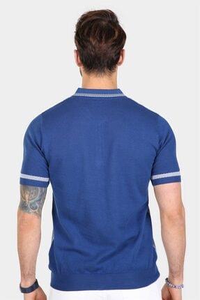Ferraro Erkek Saks Desenli Yakası Çizgili Polo Yaka Triko T-shirt 4
