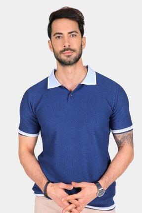 Ferraro Erkek Mavi Yaka Detaylı Pike Örgülü Polo Yaka Düğmeli Triko T-shirt 2