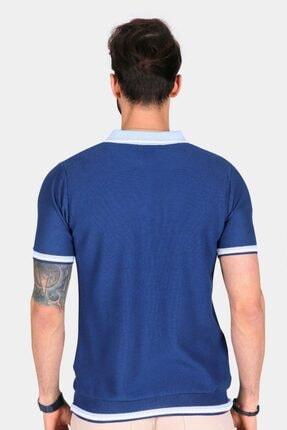 Ferraro Erkek Mavi Yaka Detaylı Pike Örgülü Polo Yaka Düğmeli Triko T-shirt 3