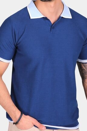 Ferraro Erkek Mavi Yaka Detaylı Pike Örgülü Polo Yaka Düğmeli Triko T-shirt 4