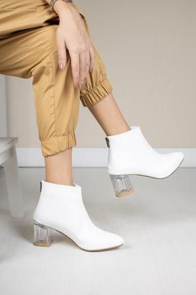 Moda Değirmeni Beyaz Kırışık Rugan Kadın Şeffaf Topuk Bot Md1050-116-0001 0