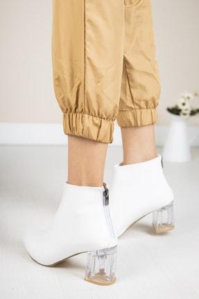 Moda Değirmeni Beyaz Kırışık Rugan Kadın Şeffaf Topuk Bot Md1050-116-0001 1
