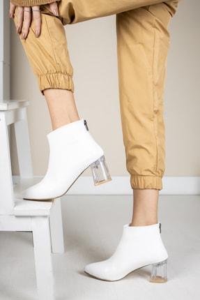 Moda Değirmeni Beyaz Kırışık Rugan Kadın Şeffaf Topuk Bot Md1050-116-0001 2