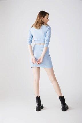 My love butik Kadın Mavi Eteği Yırtmaçlı Üçlü Kaşkorse Takım 1