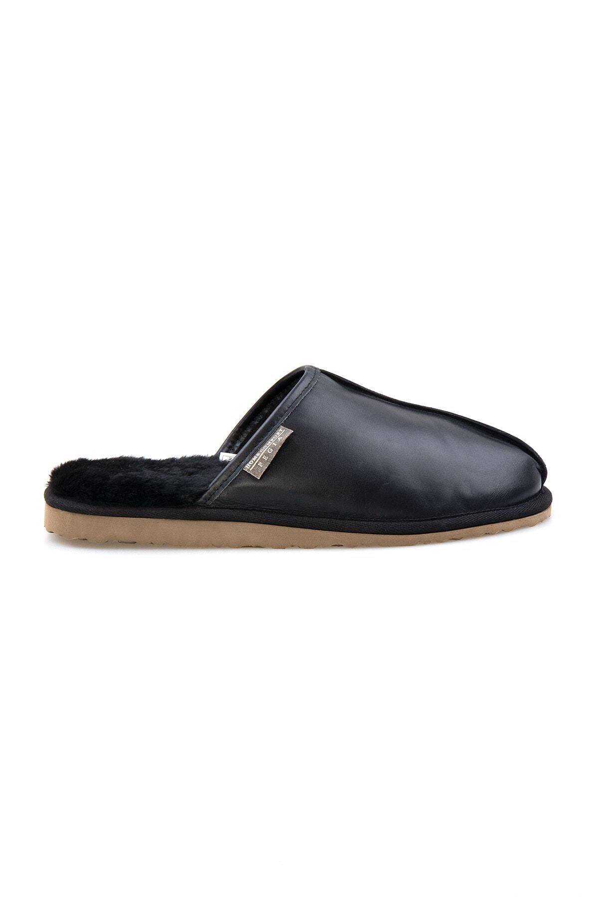Pegia Erkek Siyah Deri Kürklü Ev Ayakkabısı 111012 0