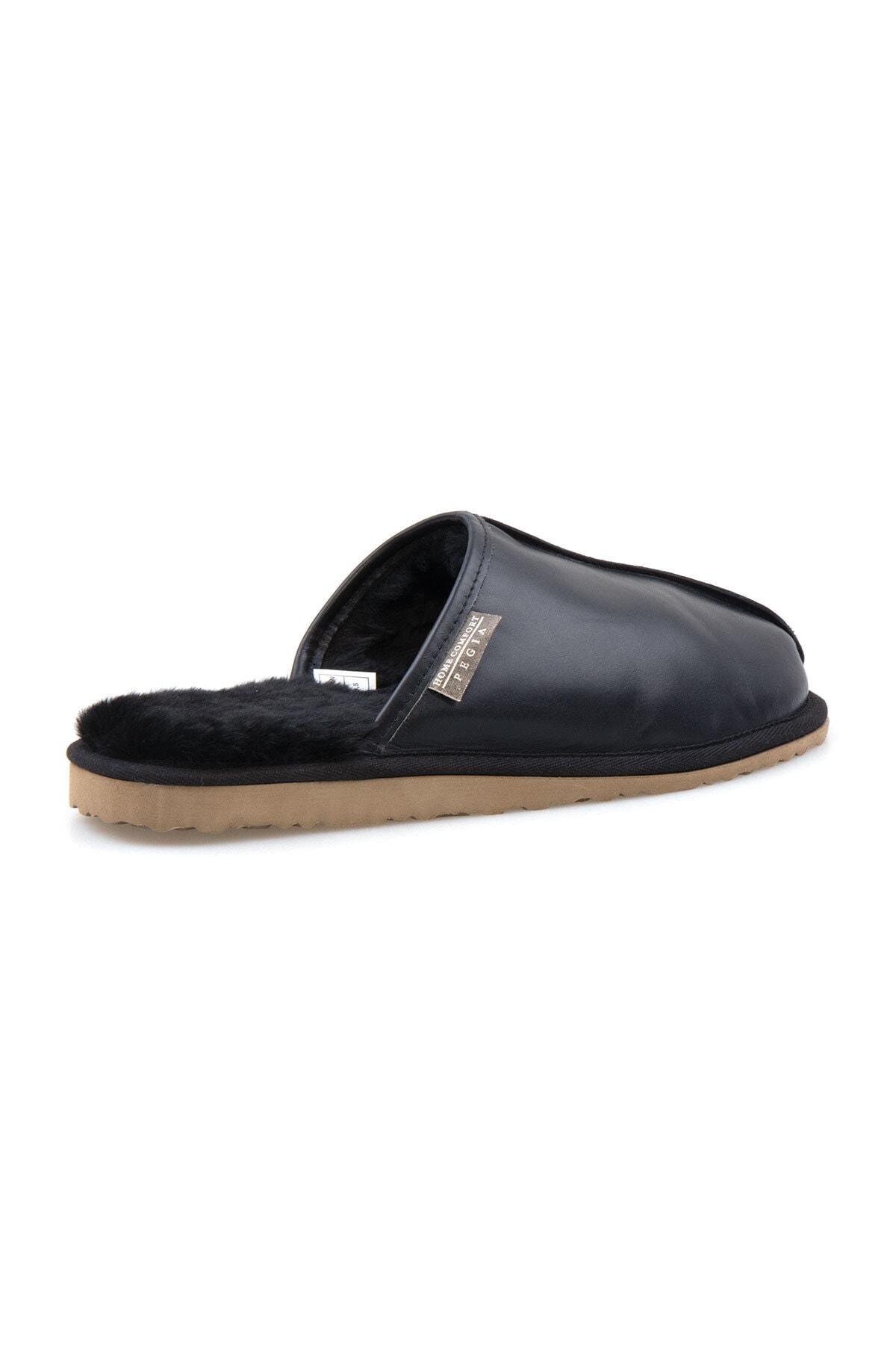 Pegia Erkek Siyah Deri Kürklü Ev Ayakkabısı 111012 2