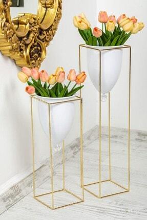 Tasarım Evi Altın Renkli 2'li Büyük Ayaklı Vazo, Çiçeklik, Saksılık 0