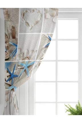 Realhomes Tek Kanat Deniz Yıldızı Dijital Baskılı Dekoratif Salon Fon Perdesi 1