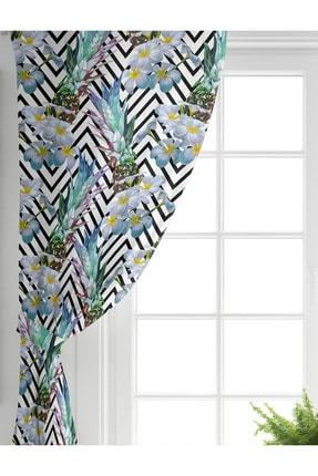 Realhomes Tek Kanat Zigzag Zeminli Yaz Egzotiği Özel Tasarımlı Salon Fon Perdesi 1