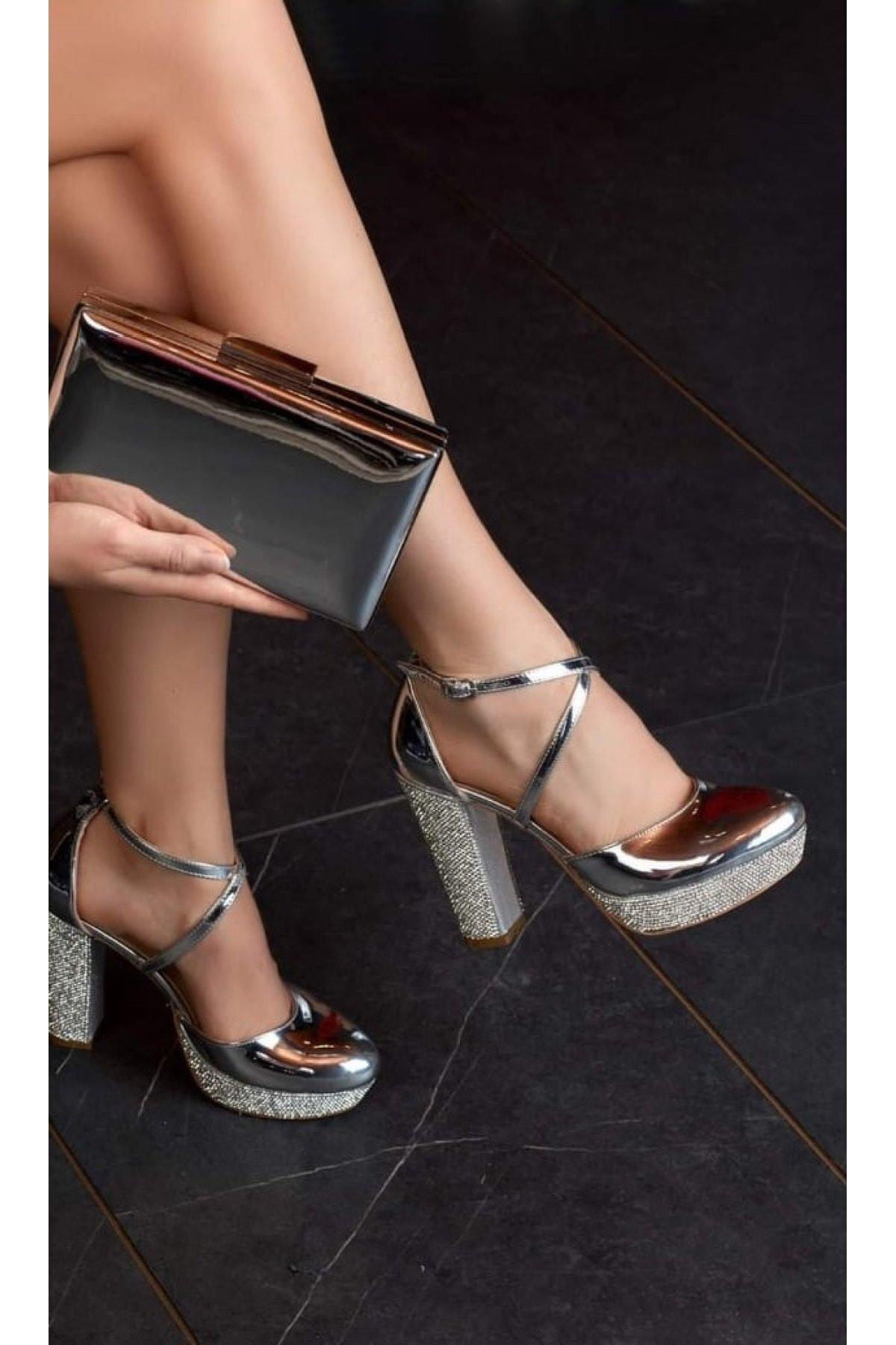 DAMLA GELİNLİK VE AKSESUAR Kadın Gümüş Gelin Ayakkabısı Ve Çantası
