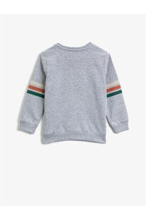 Koton Erkek Çocuk Gri Bisiklet Yaka Hayvan Figürlü Uzun Kollu Sweatshirt 1