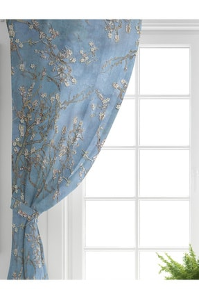 Realhomes Tek Kanat Yağlı Boya Mavi Ağaç Motifleri Dijital Baskılı Salon Fon Perdesi 1