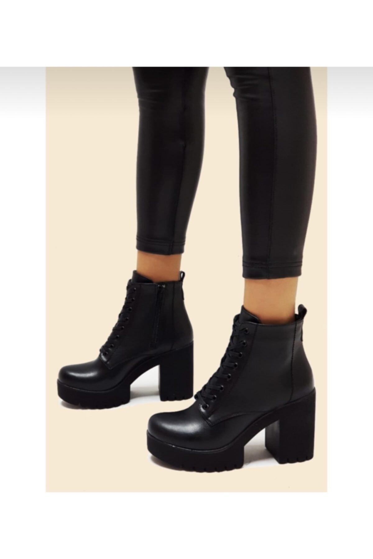 AYKMAR Kadın Siyah Kalın Topuklu Bot