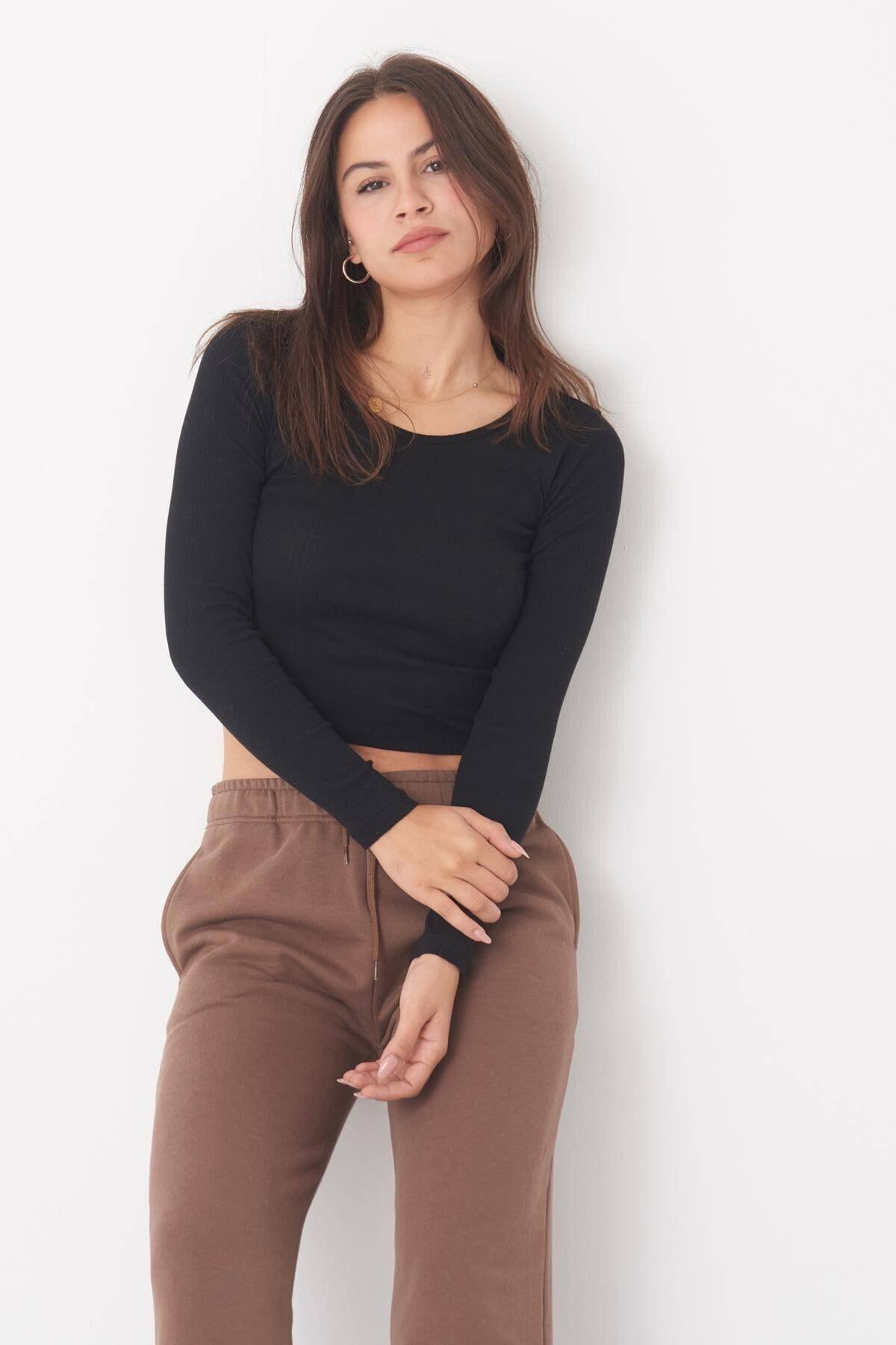 Addax Kadın Siyah Uzun Kollu Bluz B1069 - W12 Adx-0000023026 1