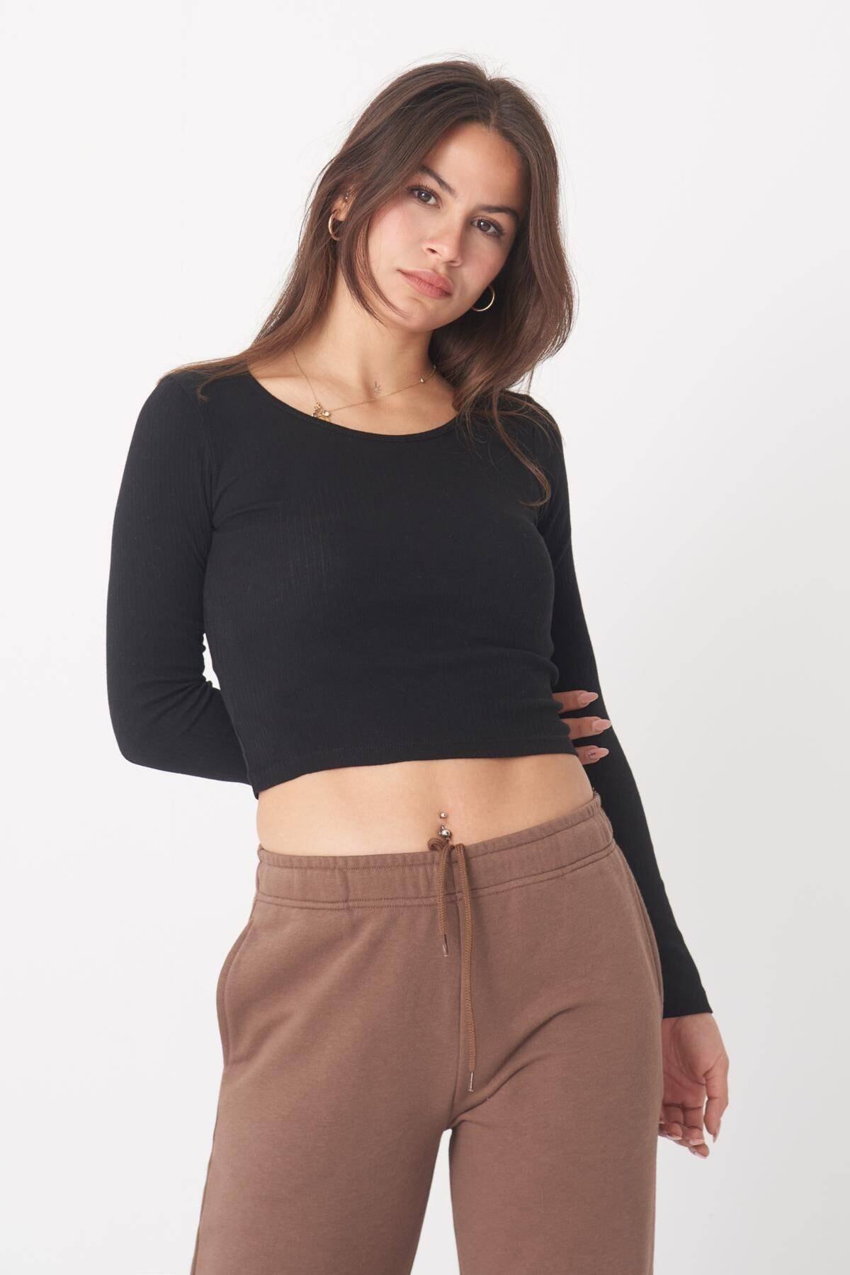 Addax Kadın Siyah Uzun Kollu Bluz B1069 - W12 Adx-0000023026 3