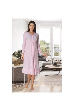 Effort Pijama Kadın Pembe  Dantel Detaylı Lohusa Emzirme Gecelik 0