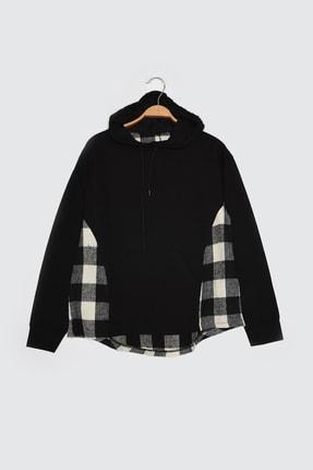 TRENDYOLMİLLA Siyah Ekose Detaylı Örme Sweatshirt TWOAW21SW1717 4