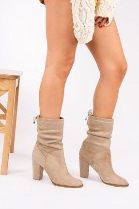 Wenti Shoes Kadın Vizon Süet Topuklu Bot 0