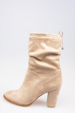 Wenti Shoes Kadın Vizon Süet Topuklu Bot 4