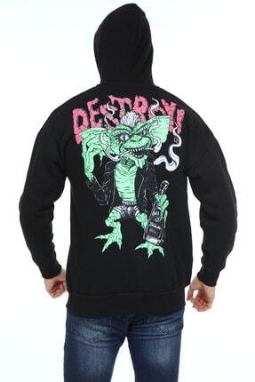 Millionaire Erkek Siyah Oversize Destroy Baskılı Sweatshirt 0