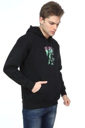 Millionaire Erkek Siyah Oversize Destroy Baskılı Sweatshirt 2