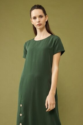 adL Kadın Yeşil Yırtmaçlı Elbise 1